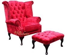 Chesterfield Queen Anne High Back Wing Chair Plush Red Velvet + Footstool