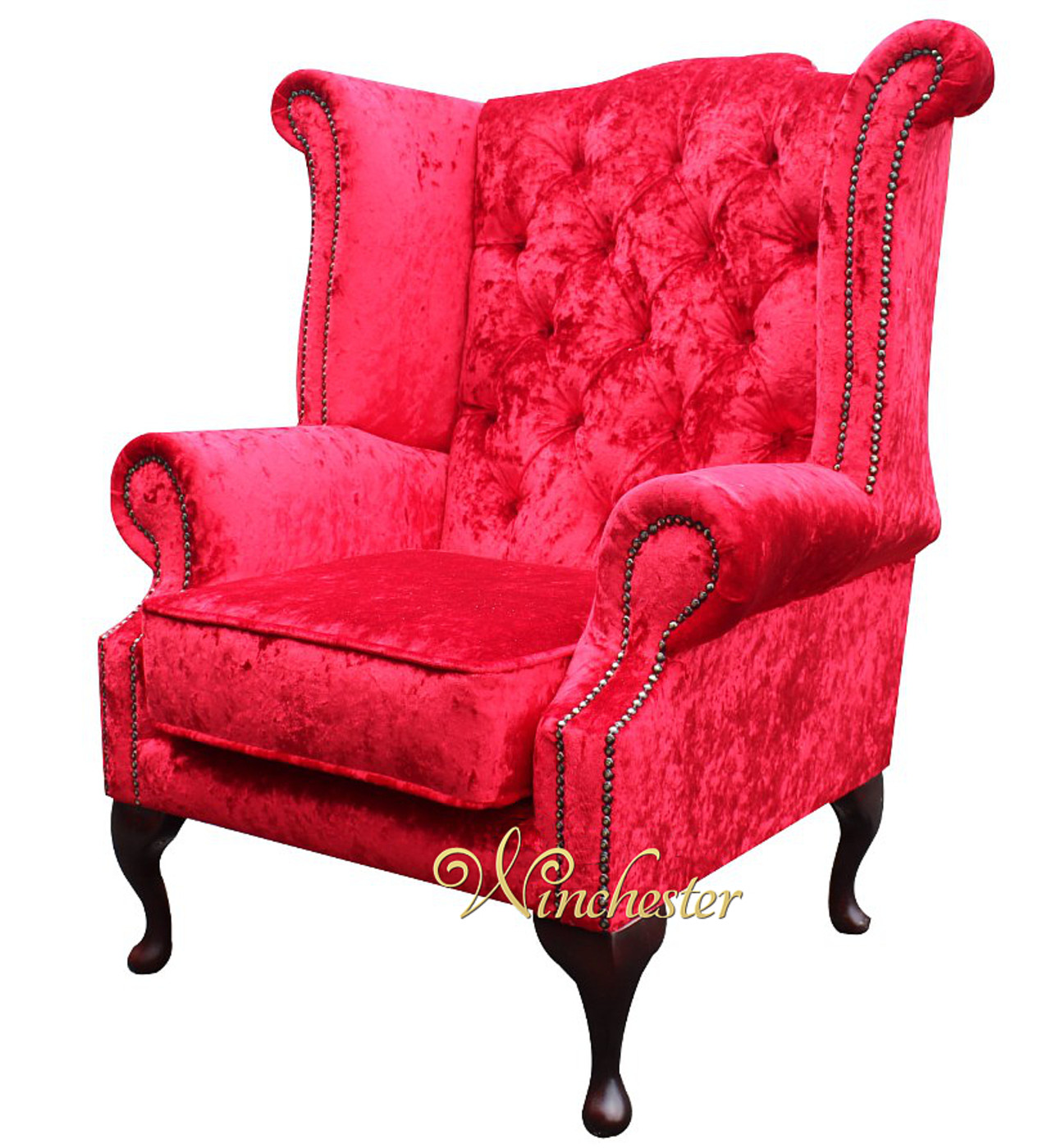 Beautiful Chesterfield Queen Anne Wing Chair Plush Red Velvet Wc