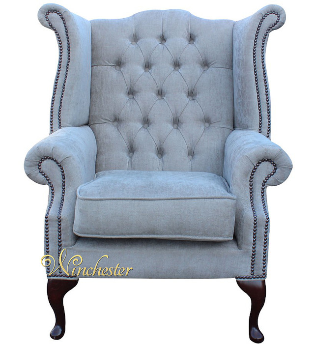 Chesterfield Queen Anne Wing Chair Ritz Mink Fabric