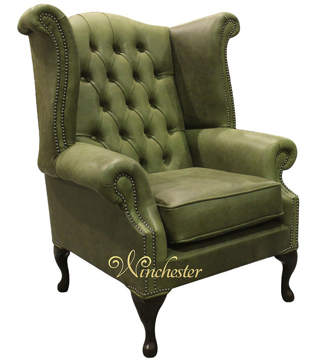 Chesterfield Queen Anne Wing Chair Selvaggio Green Leather