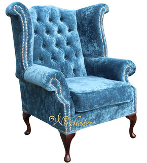 Velvet Queen Anne Chairs