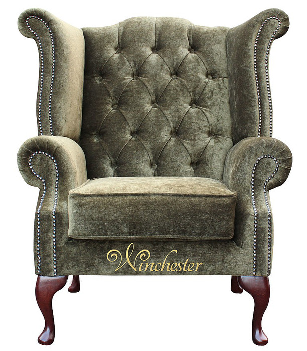 Chesterfield Fabric Queen Anne High Back Wing Chair Moss Green Leather Sofas Traditional Sofas