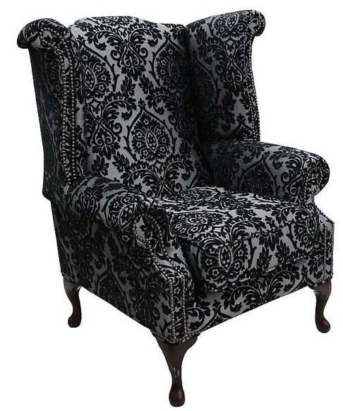 Chesterfield Saxon Fabric Queen Anne High Back Wing Chair Charlotte Medallion Graphite