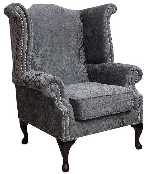 Chesterfield Saxon Fabric Queen Anne High Back Wing Chair Charlotte Medallion Mist