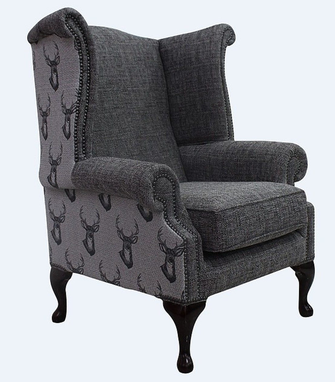 Bon Chesterfield Saxon Queen Anne High Back Wing Chair Antler Stag Charcoal Grey  Fabric