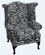 Chesterfield Saxon Queen Anne High Back Wing Chair Zebra Animal Print