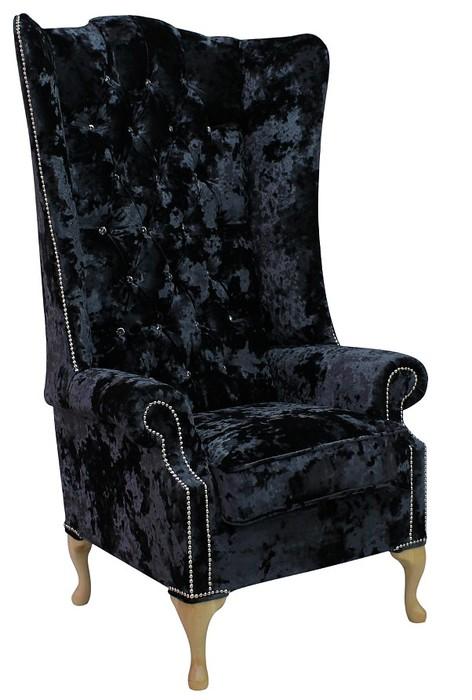 Argent Velvet Chesterfield Soho High Back Wing chair ...
