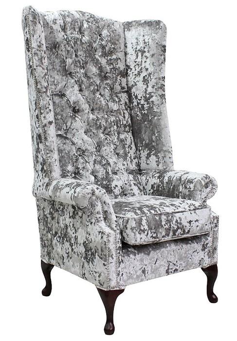 Chesterfield Soho Velvet High Back Wing Chair Ro Argent
