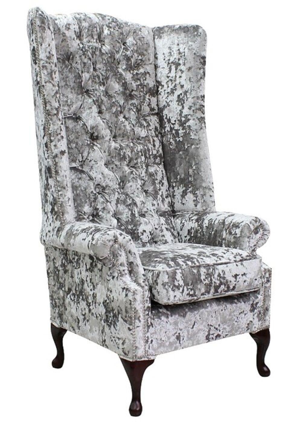Chesterfield Soho Velvet High Back Wing Chair Lustro Argent