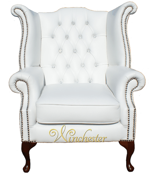 Chesterfield CRYSTALLIZED™ - Swarovski Elements Queen Anne High Back Wing Chair White Leather