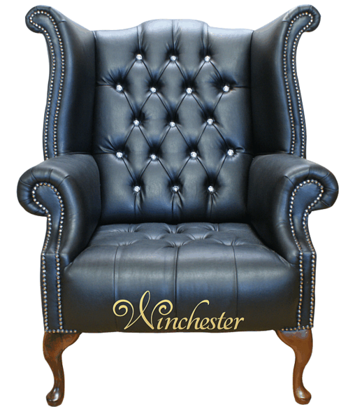 Chesterfield CRYSTALLIZED™ - Swarovski Elements Queen Anne High Back Wing Chair Black Leather