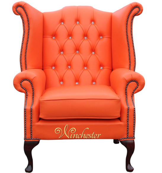 Chesterfield CRYSTALLIZED™ - Swarovski Elements Queen Anne High Back Wing Chair Mandarin Leather