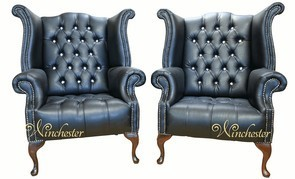 Winchester 2 x Chesterfield CRYSTALLIZED™ - Swarovski Elements Queen Anne High Back Wing Chair Black Leather
