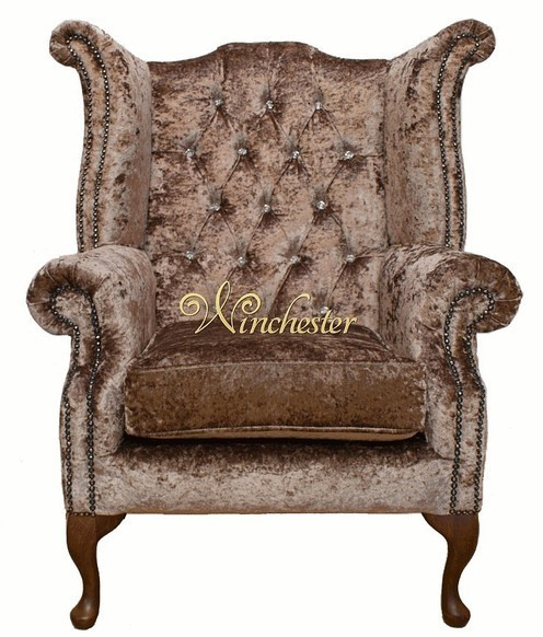 Chesterfield Swarovski Queen Anne High Back Wing Chair Boutique Mink Velvet