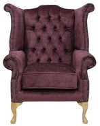 Chesterfield Velvet Queen Anne High Back Wing Chair Harmony Crush Plum