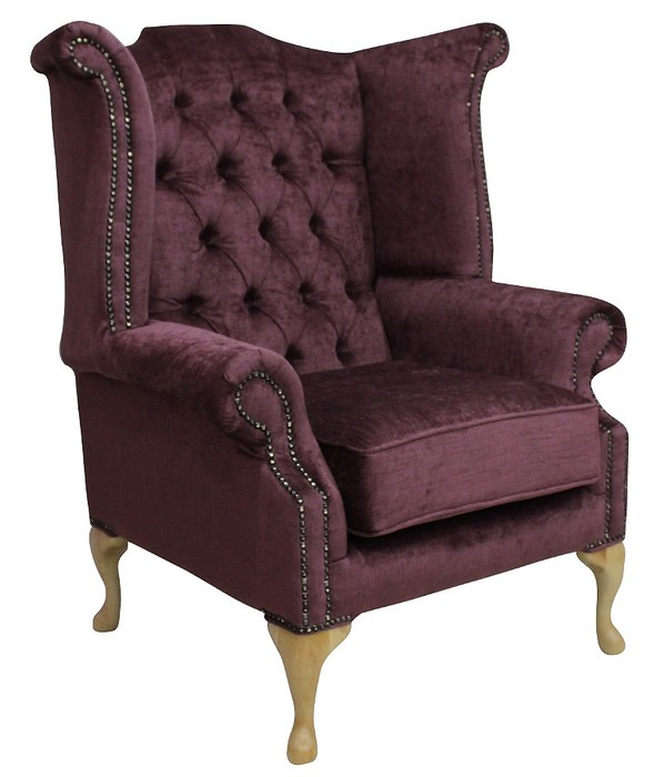 Perla Mulberry Chesterfield Queen Anne Wing Chair