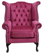 Chesterfield Velvet Queen Anne High Back Wing Chair Harmony Fuchsia