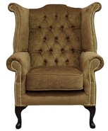 Chesterfield Velvet Queen Anne High Back Wing Chair Harmony Gold