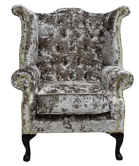 Chesterfield Velvet Queen Anne High Back Wing Chair Lustro Charm
