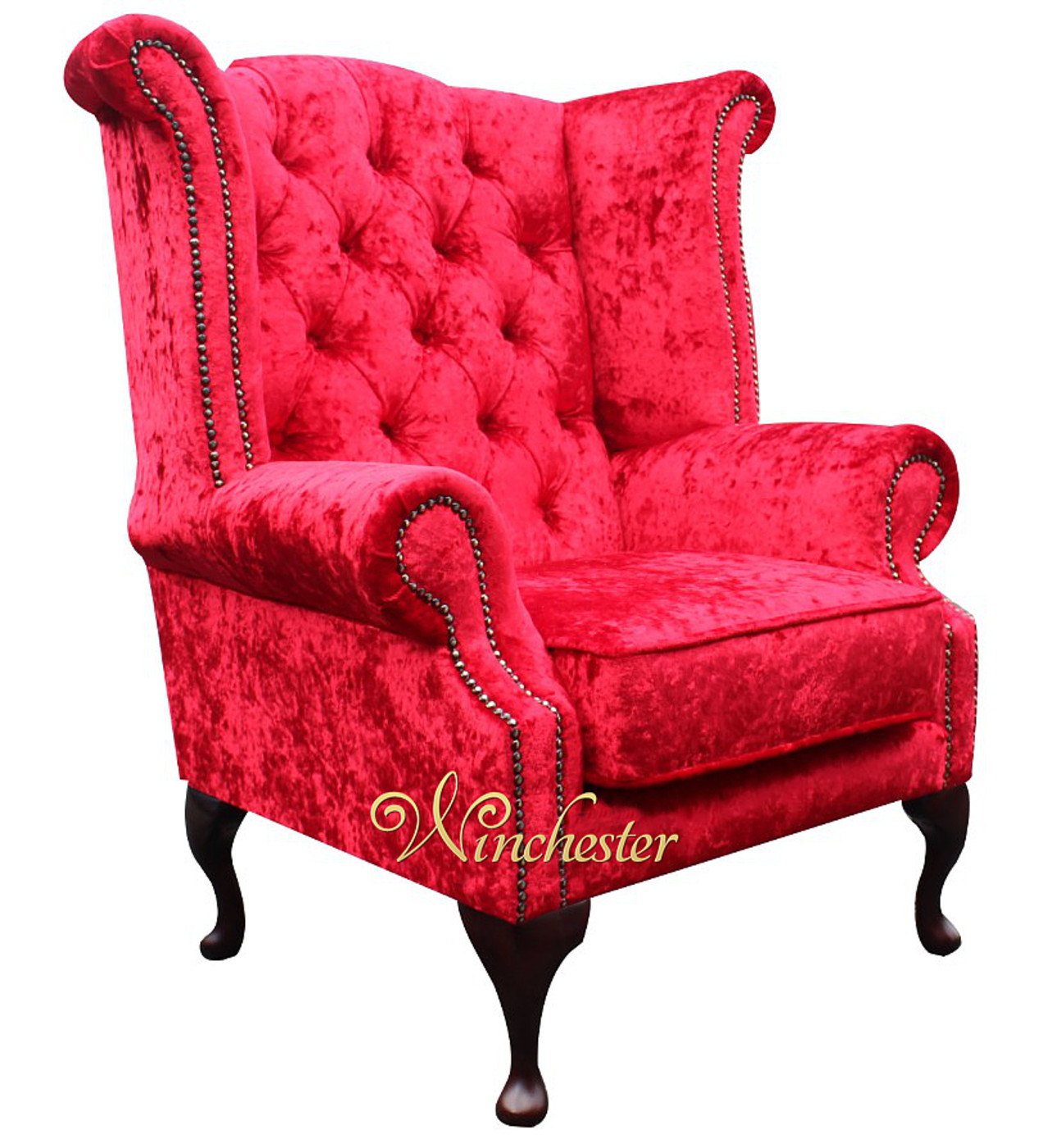 ... Chesterfield Velvet Queen Anne Wing Chair Plush Red