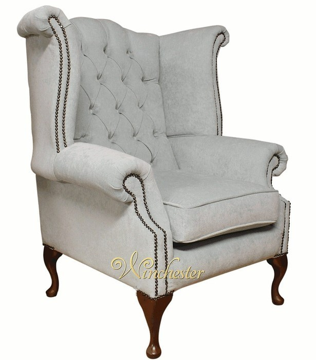 Chesterfield Fabric Queen Anne High Back Wing Chair Duck
