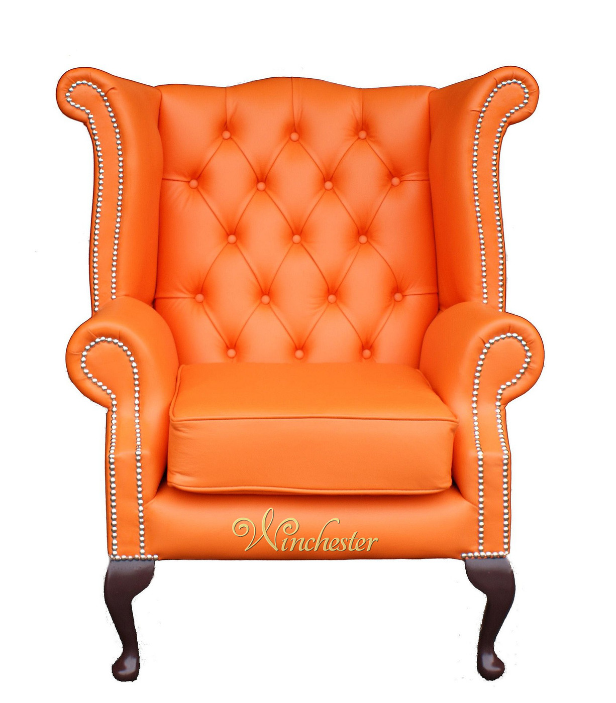Beau Chesterfield Wing Chair Orange Wc
