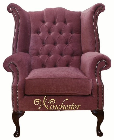 Chesterfield Fabric Queen Anne High Back Wing Chair Plum