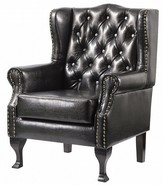 Dorchester Buttoned Faux Leather High Back Wing Chair Black
