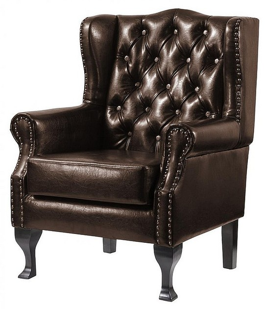 High Back Leather Sofas: Dorchester Buttoned Faux Leather High Back Wing Chair Brown