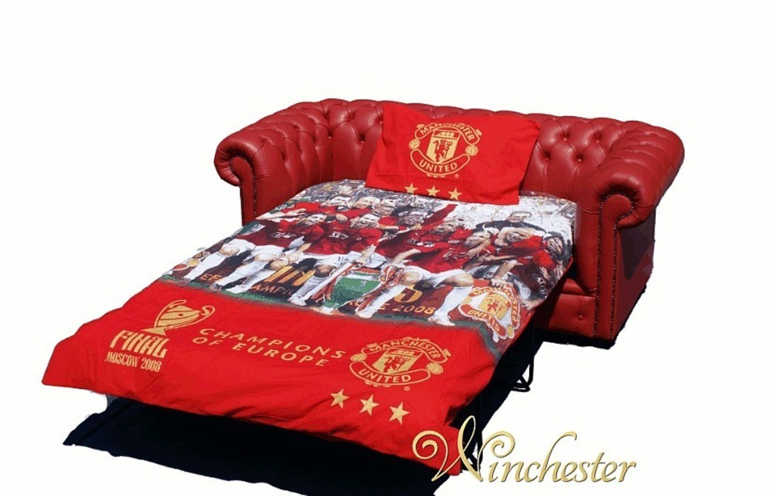 Chesterfield Red Leather Manchester United Sofabed Uk
