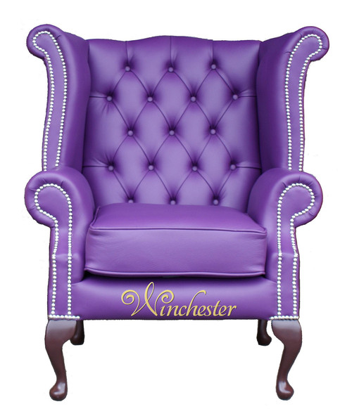 Chesterfield Queen Anne High Back Wing Chair UK Manufactured Purple