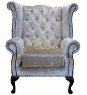 Chesterfield Swarovski Queen Anne High Back Wing Chair Boutique Ivory