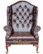 Chesterfield Scarface Chair Embroidered CRYSTALLIZED™ - Swarovski Elements Queen Anne High Back Wing Chair Antique Brown Leather
