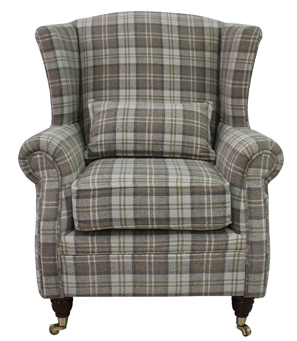Wing Chair Fireside High Back Armchair Lana Beige Check Fabric