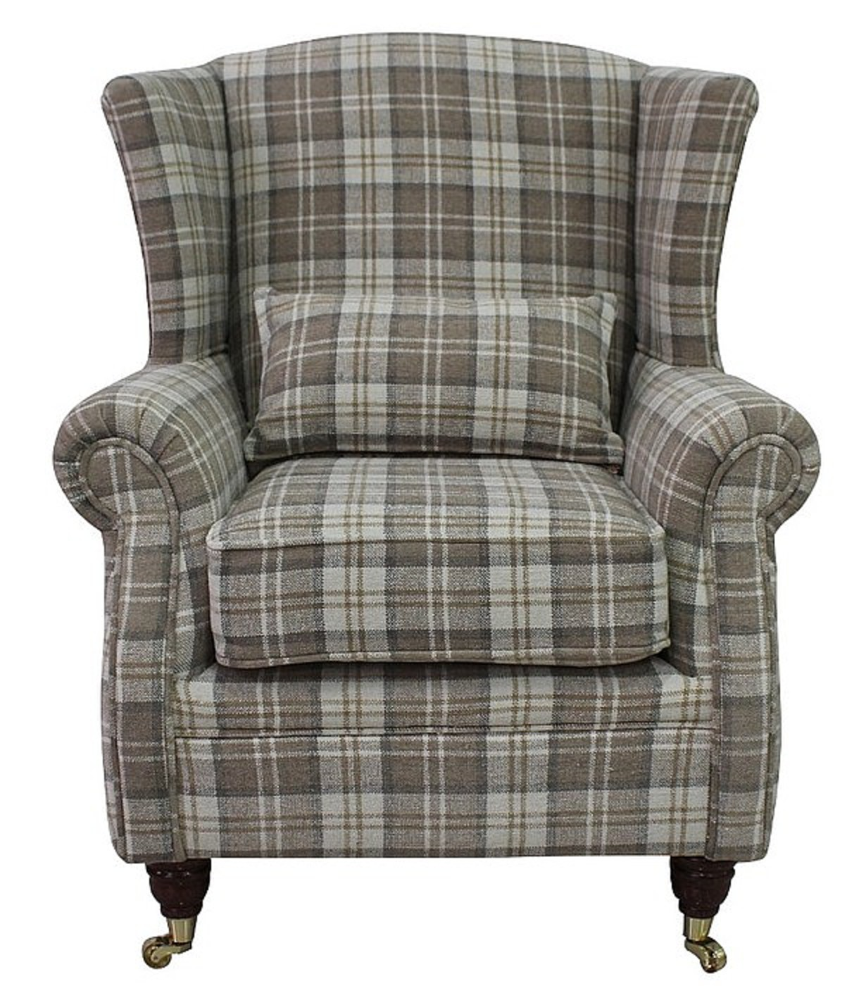 sc 1 st  Winchester Leather & Wing Chair Fireside High Back Armchair Lana Beige Check Fabric