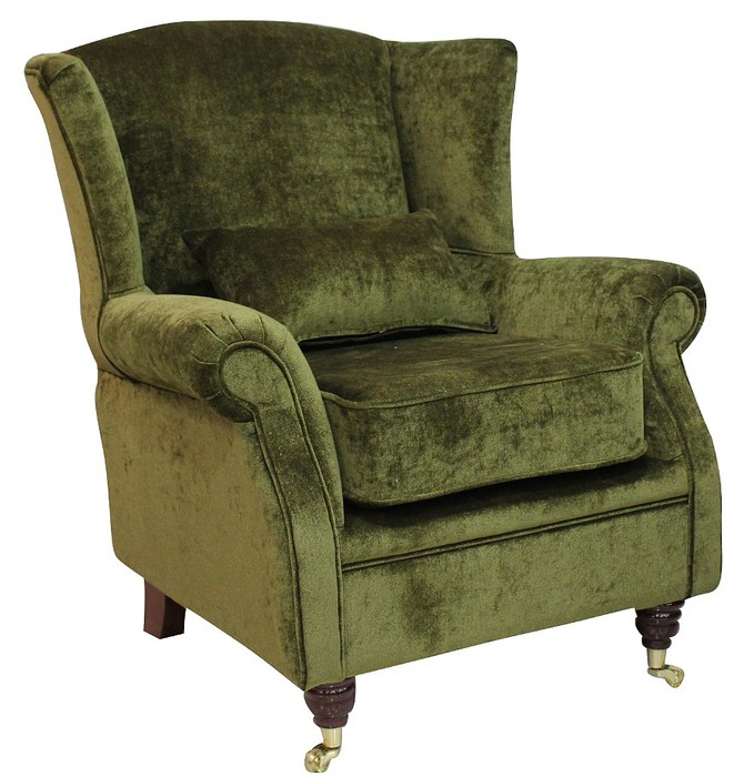 Wing Chair Fireside High Back Armchair Velluto Moss Green ...
