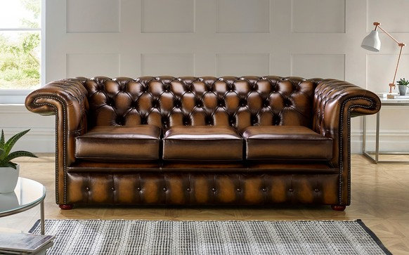 Chesterfield 1857 Hockeystick Leather Sofa 3 Seater Antique Tan