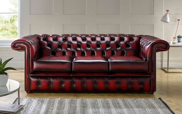 Chesterfield 1857 Hockeystick Leather Sofa 3 Seater Antique Oxblood
