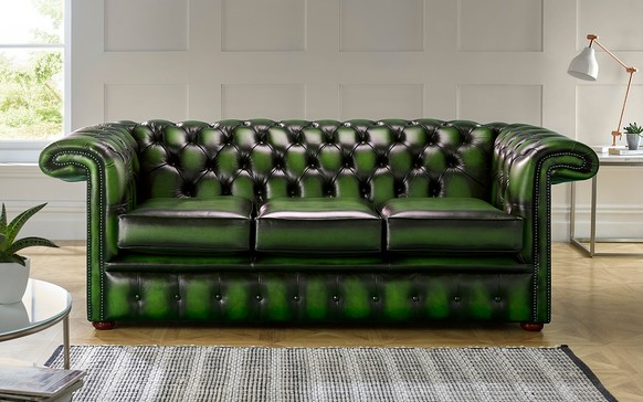 Chesterfield 1857 Hockeystick Leather Sofa 3 Seater Antique Green