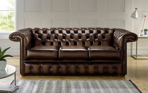 Chesterfield 1857 Hockeystick Leather Sofa 3 Seater Antique Brown