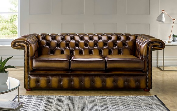 Chesterfield 1857 Hockeystick Leather Sofa 3 Seater Antique Gold