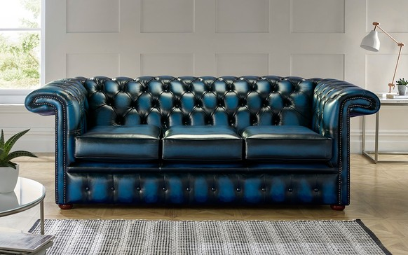 Chesterfield 1857 Hockeystick Leather Sofa 3 Seater Antique Blue