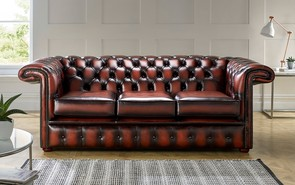 Chesterfield 1857 Hockeystick Leather Sofa 3 Seater Antique Light Rust