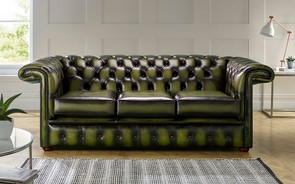Chesterfield 1857 Hockeystick Leather Sofa 3 Seater Antique Olive
