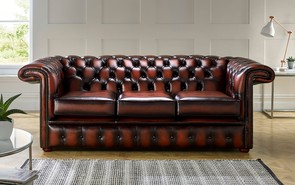 Chesterfield 1857 Hockeystick Leather Sofa 3 Seater Antique Rust