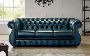 Chesterfield Kimberley Leather Sofa Antique Blue