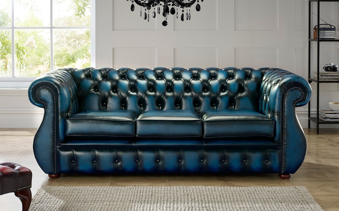 Chesterfield Kimberley Leather Sofa 3, Blue Leather Furniture