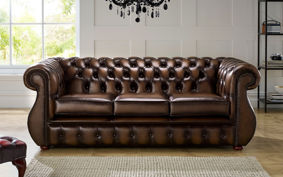 Chesterfield Kimberley Leather Sofa 3 Seater Antique Brown