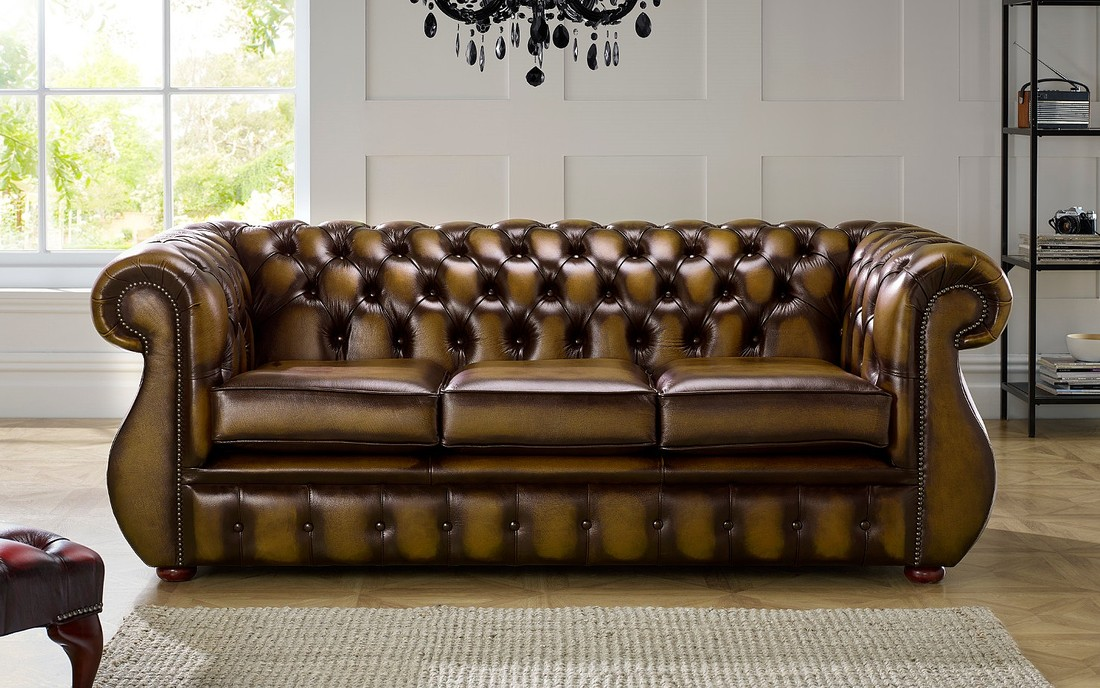 Chesterfield Kimberley Leather Sofa 3 Seater Antique Gold