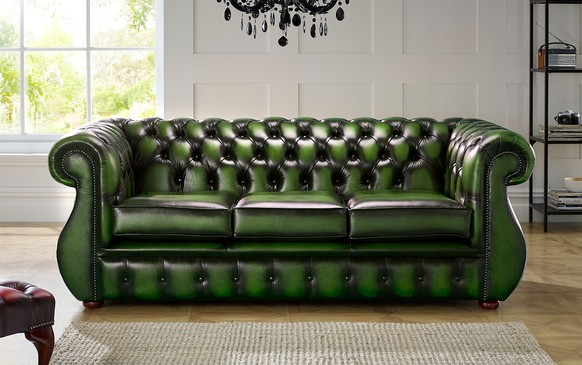Chesterfield Kimberley Leather Sofa Antique Green